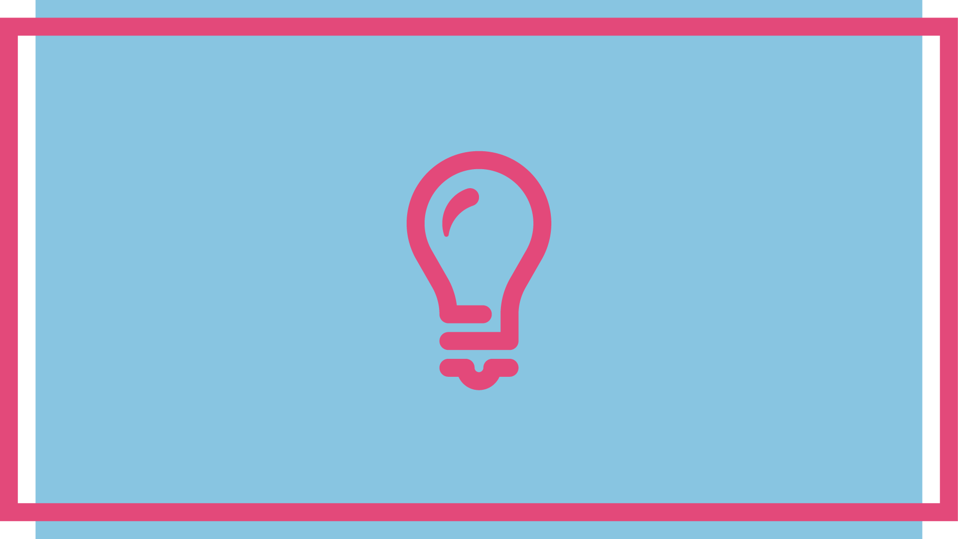 Pink lightbulb icon on a pale blue background
