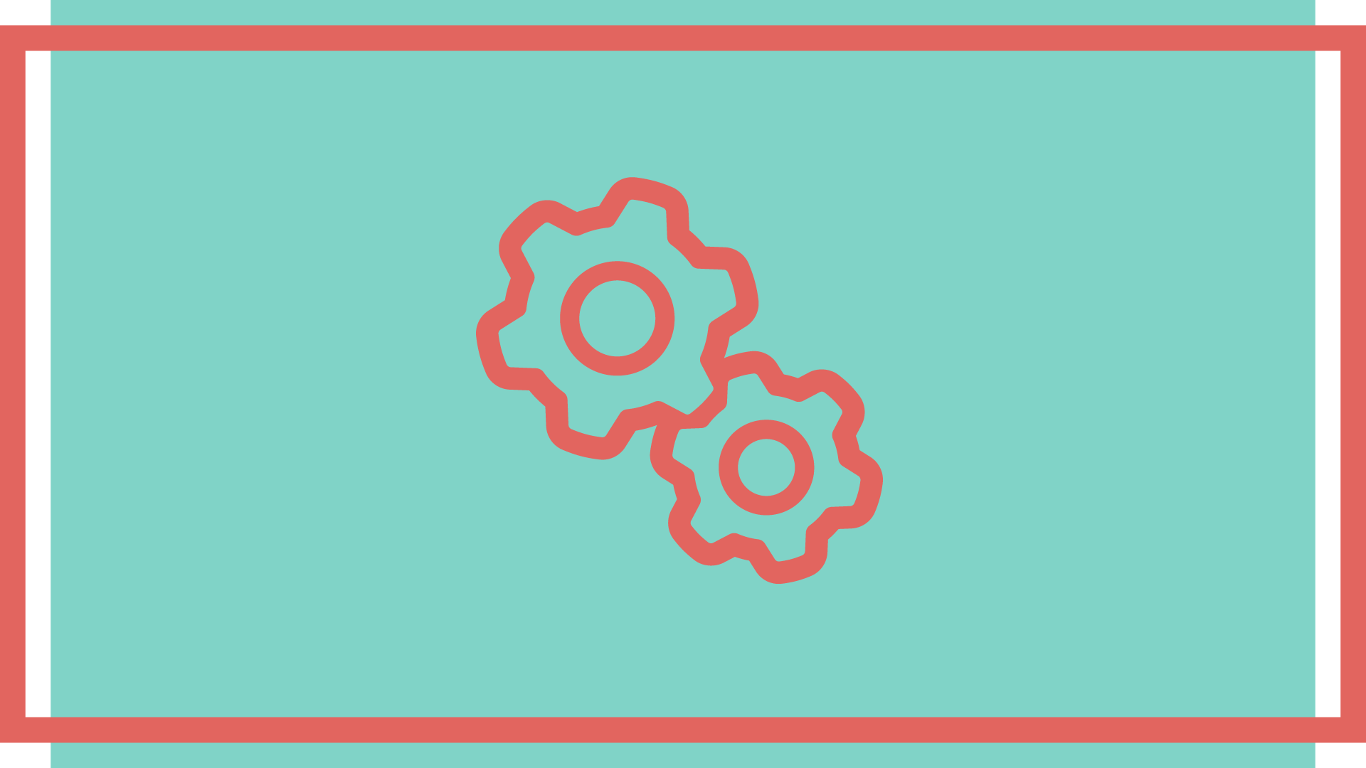 A red cogs icon over a pale mint green background