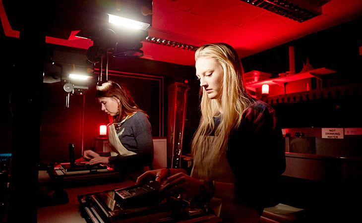Students in darkroom